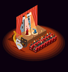Theatre auditorium isometric composition vector