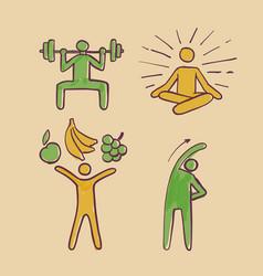 Healthy people sign symbols set hand drawn vector