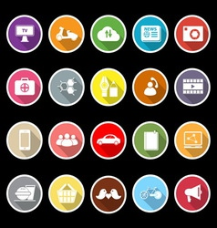 Social network flat icons with long shadow vector