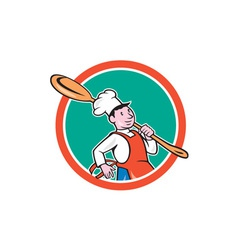 Chef cook marching spoon circle cartoon vector