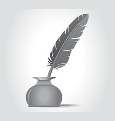 Feather quill in the ink well vector