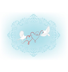Two birds fly and carry in its beak decorative hea vector
