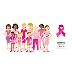 Breast cancer awareness pink women happy ribbon vector