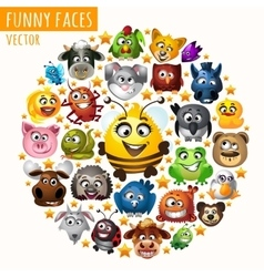 Funny animals in the circle vector