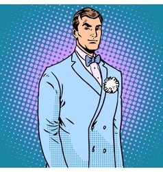 The groom in a wedding suit vector