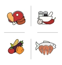 Food color icons set vector