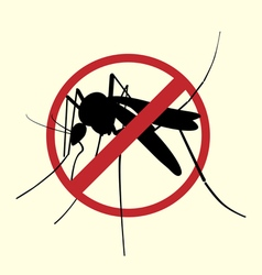 Icon of aegypti mosquito with forbidden sign vector