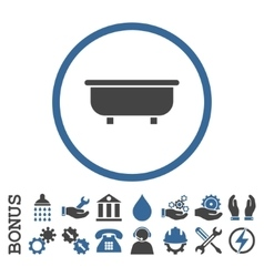 Bathtub flat rounded icon with bonus vector