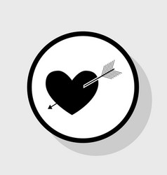 Arrow heart sign flat black icon in white vector