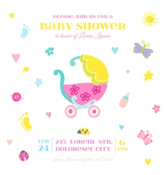 Baby Shower or Arrival Card - with Baby Elements vector image vector image