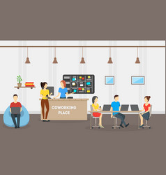 cartoon coworking place card poster vector image vector image