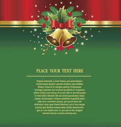 christmas background with bells ribbons vector image vector image