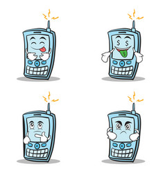 collection set of phone character cartoon style vector image