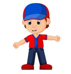 cute boy cartoon good posing vector image vector image