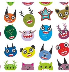Cute cartoon monsters set seamless pattern on vector