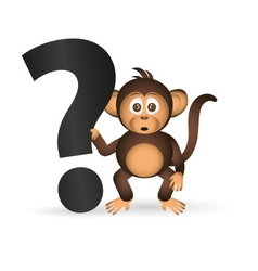 cute chimpanzee little monkey and question mark vector image vector image
