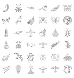 fly icons set outline style vector image