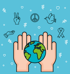 Hands world earth together symbol peace vector