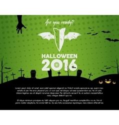 Happy halloween 2016 green landscape poster are vector
