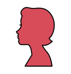 Head woman profile icon vector
