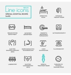 Hospital special rooms - line design pictograms vector image vector image