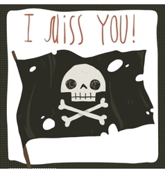 I miss you funny halloween card vector