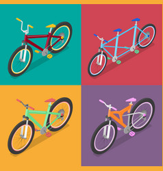 Isometric bicycle set with mountane bike vector