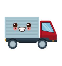 kawaii delivery truck van product transport vector image