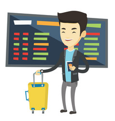 Man with suitcase and ticket at the airport vector