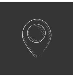 Map pointer drawn in chalk icon vector