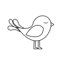 Monochrome silhouette with cute bird vector