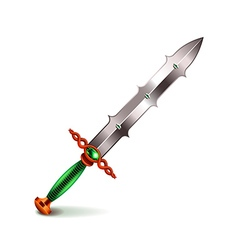 Old sword with green handle isolated on white vector image vector image