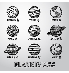 Set of hand drawn planet icons with names and vector