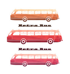 Side view of colorful silhouettes of retro bus vector