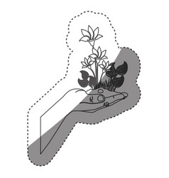 Sticker grayscale contour with plant with flowers vector