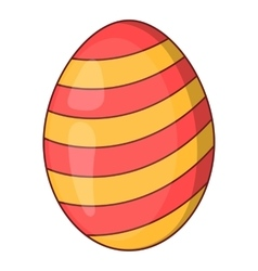 Striped easter egg icon cartoon style vector