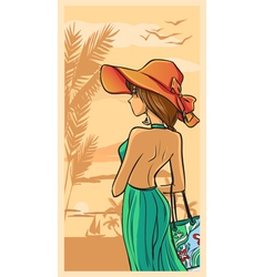 Summer and beautiful lady in green dress and hat vector image