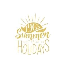 Summer holidays vintage emblem with sunset vector