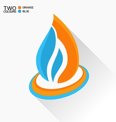 symbol fire Blue and orange flame glass icon with vector image vector image