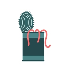 Tin of earthworms icon vector