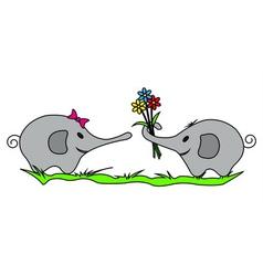 Two Elephants vector image