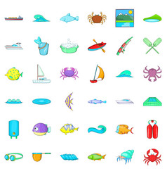 Water icons set cartoon style vector