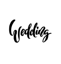 Wedding calligraphy lettering on white isolated vector