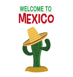 Welcome to mexico card invitation culture vector