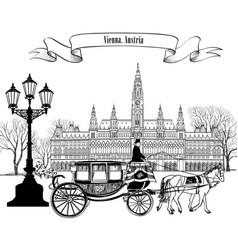 wien landmark vienna city street carriage travel vector image vector image