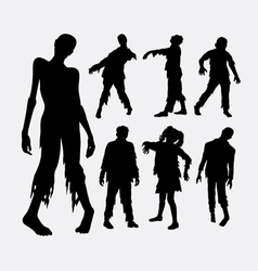 Zombie horror male and female silhouette vector
