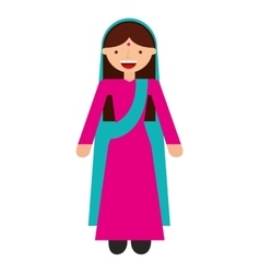 Indian woman culture icon vector