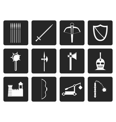 Black medieval arms and objects icons vector