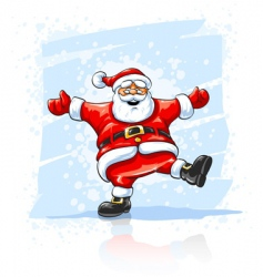 Merry christmas santa claus dancing vector
