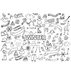 Winter doodles collection design elements vector